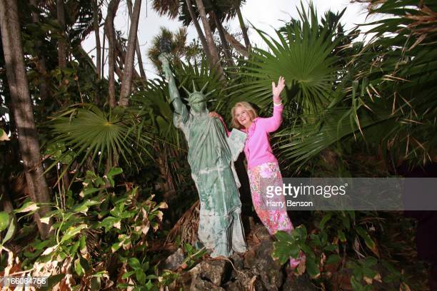Fashion designer and socialite Lilly Pulitzer is photographed for a local Palm Beach magazine on December 23 2008 in Palm Beach Florida