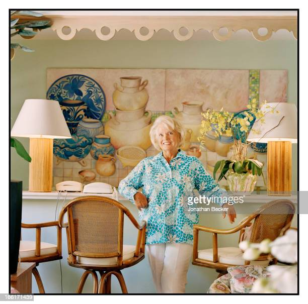 Fashion designer and socialite Lilly Pulitzer is photographed for Vanity Fair Magazine on February 24 2003 at home in Palm Beach Florida