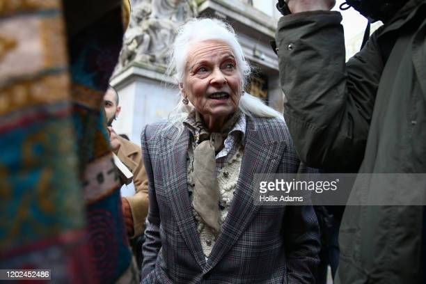 Fashion designer and supporter of Julian Assange Vivienne Westwood attends a demonstration outside Australia House on February 22 2020 in London...