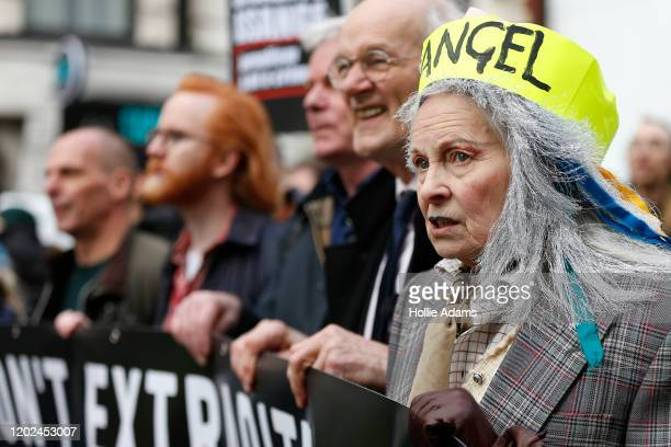 Fashion designer and supporter of Julian Assange Vivienne Westwood marches with Assange's father John Shipton on February 22 2020 in London England...