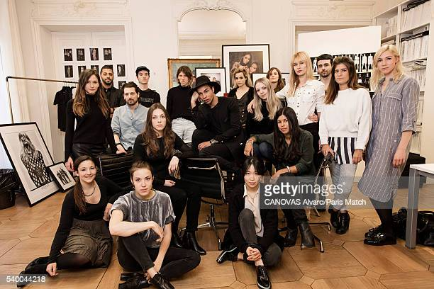 Fashion designer and the creative director of Balmain Olivier Rousteing is photographed with his team for Paris Match on April 28 2016 in Paris France