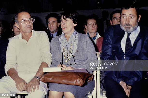 Fashion designer Andre Courreges, AFP fashion editor Jacqueline Claude and AFP photographer Pierre Guillot sitting in the front row during the...