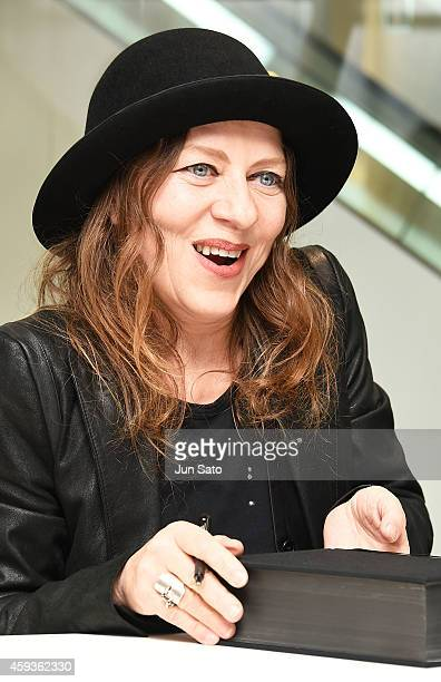 Fashion designer Ann Demeulemeester attends Ann Demeulemeester Photobook autographing event at Dover Street Market Ginza on November 21 2014 in Tokyo...