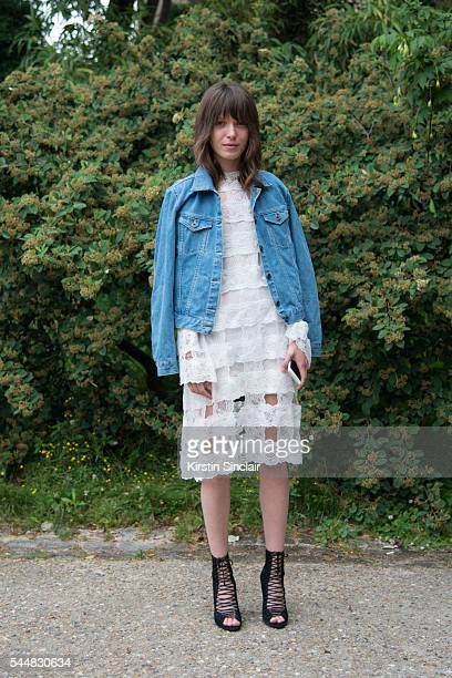 Fashion Designer Anna K wears an Anna K dress and Kendall Kylie shoes on day 1 of Paris Haute Couture Fashion Week Autumn/Winter 2016 on July 3 2016...