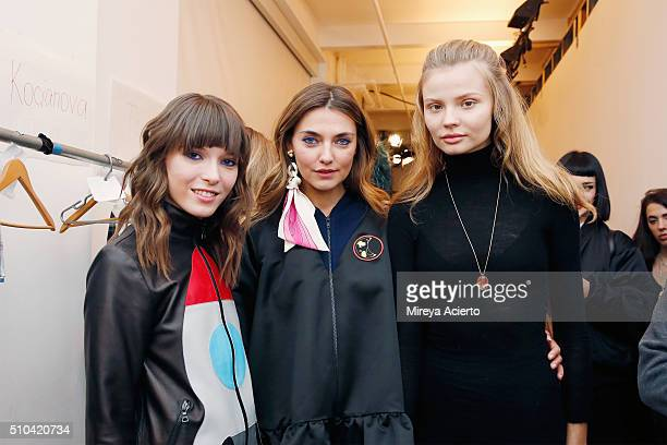 Fashion designer Anna Karenina Alina Baikova and model Magdalena Frackowiak pose backstage at the Anna K fashion show during Fall 2016 MADE Fashion...