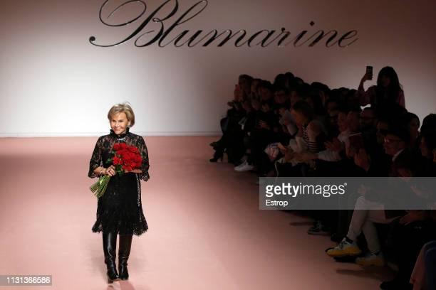 Fashion designer Anna Molinari at the Blumarine show at Milan Fashion Week Autumn/Winter 2019/20 on February 20 2019 in Milan Italy