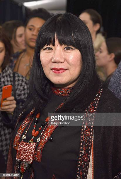Fashion designer Anna Sui seen backstage at the Anna Sui fashion show during MercedesBenz Fashion Week Fall 2015 at The Theatre at Lincoln Center on...