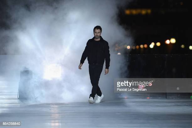 Fashion designer Anthony Vaccarello is seen on the runway during the Saint Laurent show as part of the Paris Fashion Week Womenswear Spring/Summer...