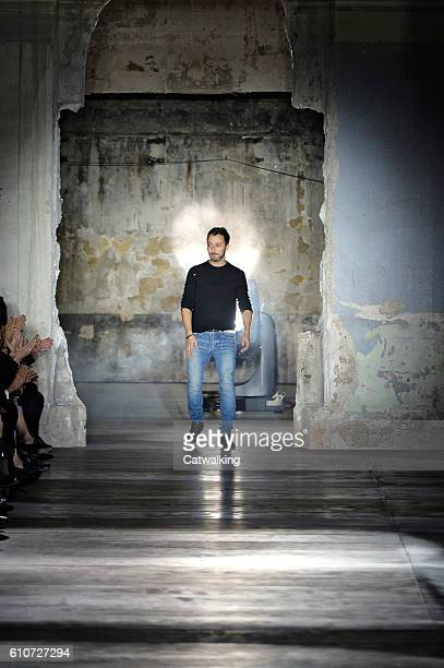Fashion designer Anthony Vaccarello walks the runway at the Saint Laurent Spring Summer 2017 fashion show during Paris Fashion Week on September 27...