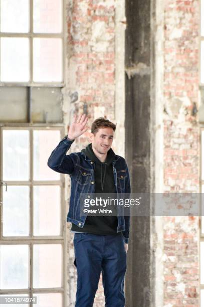 Fashion designer Antonin Tron walks the runway during the Atlein show as part of the Paris Fashion Week Womenswear Spring/Summer 2019 on September 27...