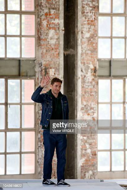 Fashion designer Antonin Tron walks the runway during the Atlein Ready to Wear fashion show as part of the Paris Fashion Week Womenswear...