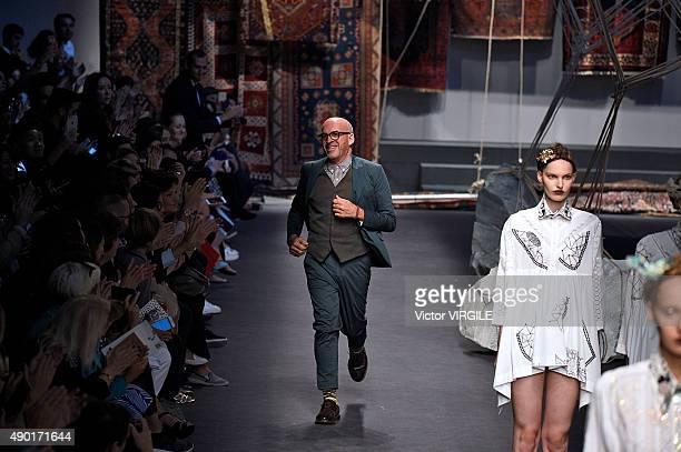 Fashion designer Antonio Marras walks the runway during the Antonio Marras Ready to Wear fashion show as part of Milan Fashion Week Spring/Summer...