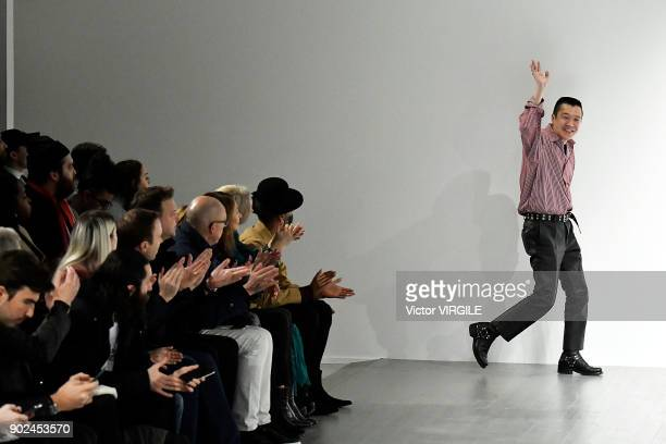Fashion designer Arashi Yanagawa walks the runway at the John Lawrence Sullivan Fall/Winter 2018/2019 show during London Fashion Week Men's January...