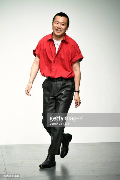 Fashion designer Arashi Yanagawa walks the runway at the John Lawrence Sullivan fashion show during the London Fashion Week Men's June 2017 Spring...
