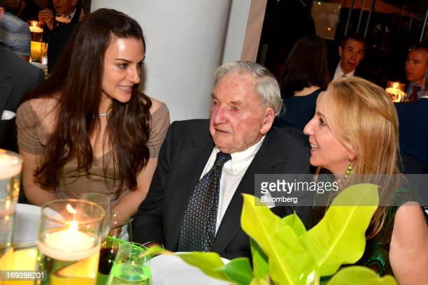Fashion designer Ariana Rockefeller from left her grandfather David Rockefeller chairman of Rockefeller Center Properties Inc and stepmother Susan...