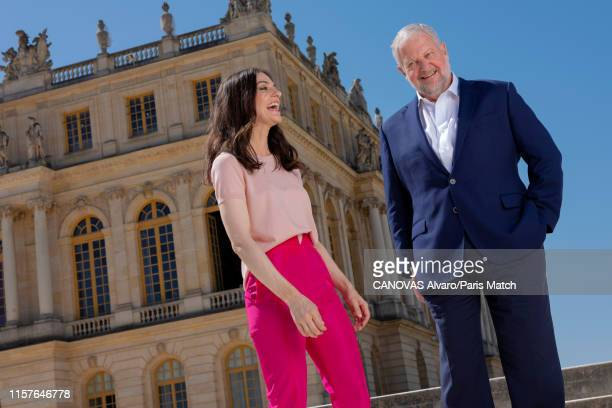 Fashion designer Ariana Rockefeller is photographed with her father David Rockefeller for Paris Match on June 29 2019 at the Chateau de Versailles...