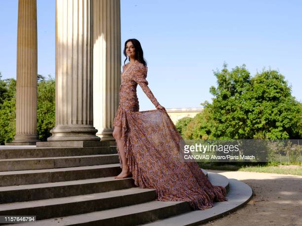 Fashion designer Ariana Rockefeller wearing a dress by Dior is photographed for Paris Match on June 29 2019 at the Chateau de Versailles France