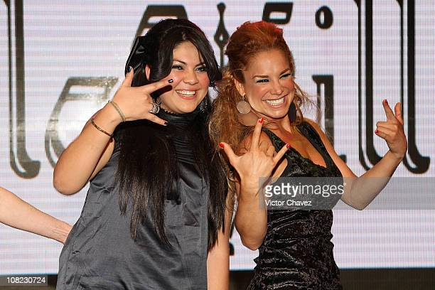 Fashion designer Artemiza Cruz and Cuban actress Liz Vega attend the La Vill Autumn/Winter 2010 fashion show at Casino Life on March 24 2010 in...