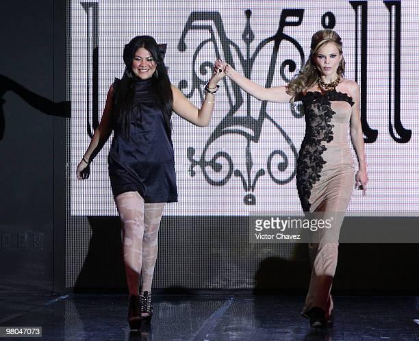 Fashion designer Artemiza Cruz and Mexican model Carmen Campuzano walk the runway during La Vill Autumn/Winter 2010 fashion show at Casino Life on...