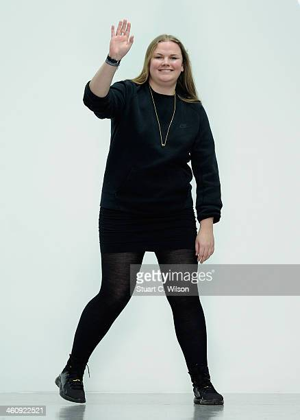 Fashion designer Astrid Andersen acknowledges the applause of the audience after the Astrid Andersen show during The London Collections Men...
