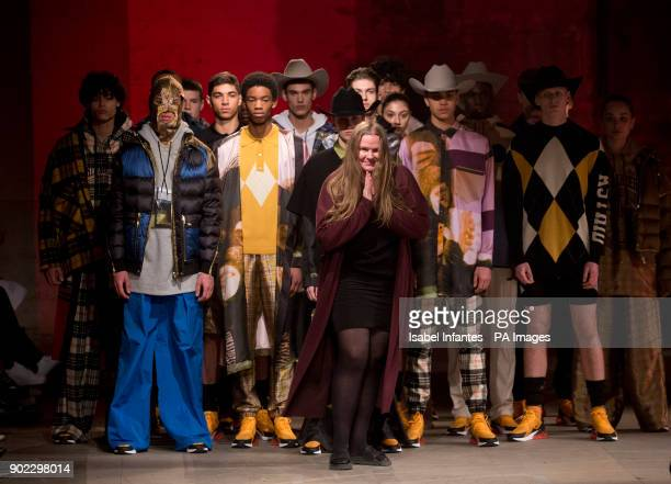 Fashion designer Astrid Andersen acknowledges the audience following the catwalk during the Astrid Andersen Autumn/ Winter 2018 London Fashion Week...