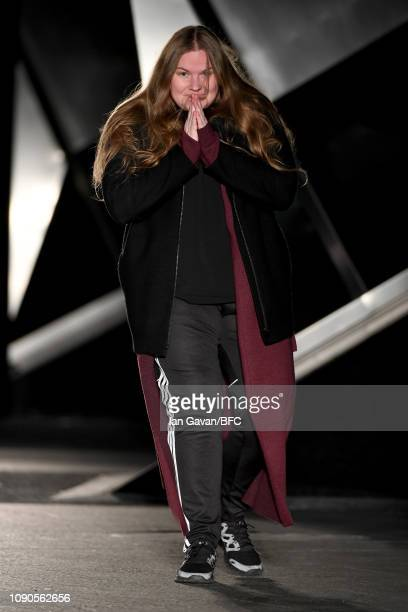 Fashion designer Astrid Andersen on the runway at the finale of her show during London Fashion Week Men's January 2019 on January 06 2019 in London...