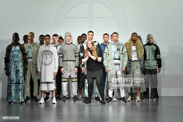 Fashion designer Astrid Andersen walks the runway at the Astrid Andersen fashion show Spring Summer 2018 fashion show during London Menswear Fashion...