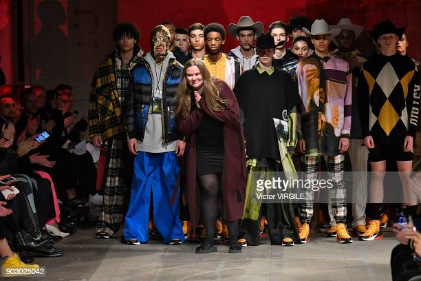 Fashion designer Astrid Andersen walks the runway at the Astrid Andersen Fall/Winter 2018/2019 show during London Fashion Week Men's January 2018 at...