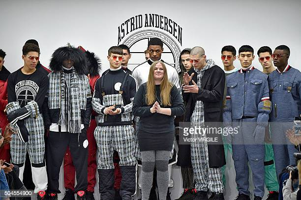 Fashion designer Astrid Andersen walks the runway at the Astrid Andersen show during The London Collections Men AW16 at Victoria House on January 9...