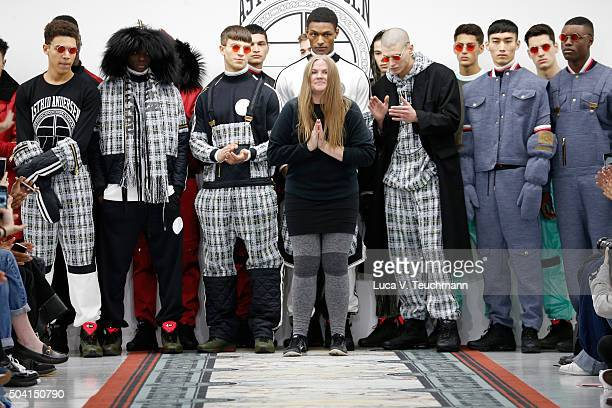 Fashion designer Astrid Anderson and models on the runway after her show during The London Collections Men AW16 at Victoria House on January 9 2016...