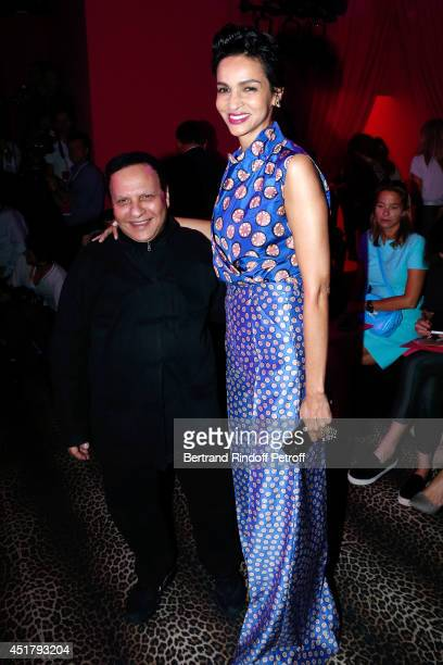 Fashion designer Azzedine Alaia and Farida Khelfa Seydoux attend the Schiaparelli show as part of Paris Fashion Week Haute Couture Fall/Winter...