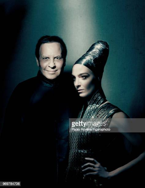 Fashion designer Azzedine Alaia and model Mariacarla Boscono pose at a fashion shoot for Madame Figaro on October 13, 2017 in Paris, France. Clothing...