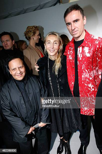 Fashion designer Azzedine Alaia Carla Sozzani and Fashion Designer Raf Simons pose backstage after Christian Dior show as part of Paris Fashion Week...