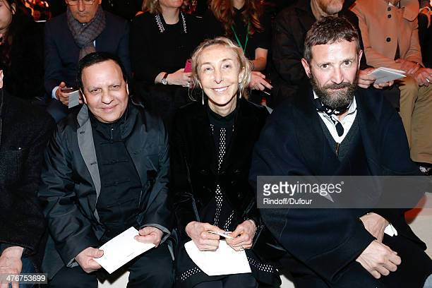 Fashion designer Azzedine Alaia journalist Franca Sozzani and fashion designer Stefano Pilati attend the Louis Vuitton show as part of the Paris...