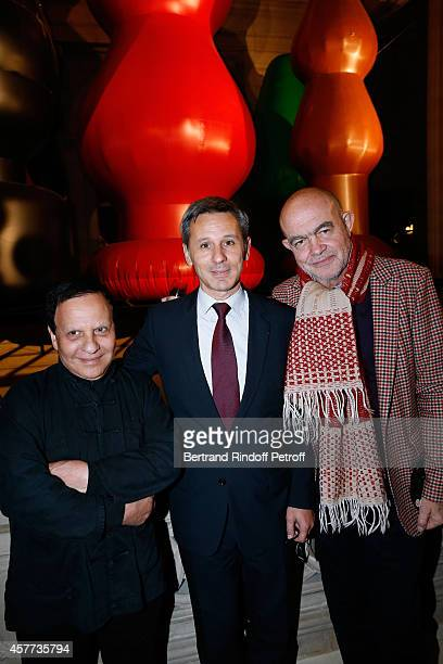 Fashion designer Azzedine Alaia President of Monnaie de Paris Christophe Beaux and Fashion designer Christian Lacroix attend the Monnaie De Paris...