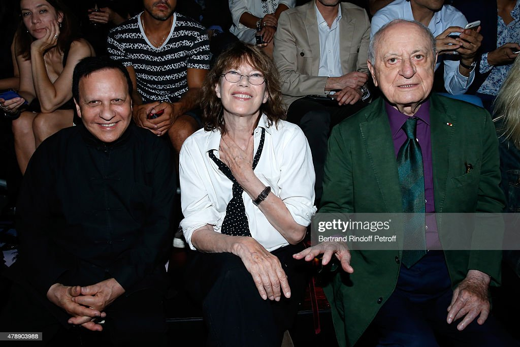 Fashion Designer Azzedine Alaia, Singer Jane Birkin and Pierre Berge attend the Saint Laurent Menswear Spring/Summer 2016 show as part of Paris Fashion Week on June 28, 2015 in Paris, France.