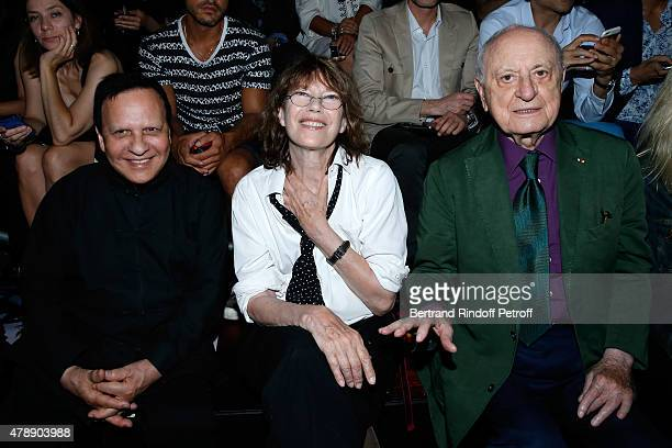 Fashion Designer Azzedine Alaia Singer Jane Birkin and Pierre Berge attend the Saint Laurent Menswear Spring/Summer 2016 show as part of Paris...