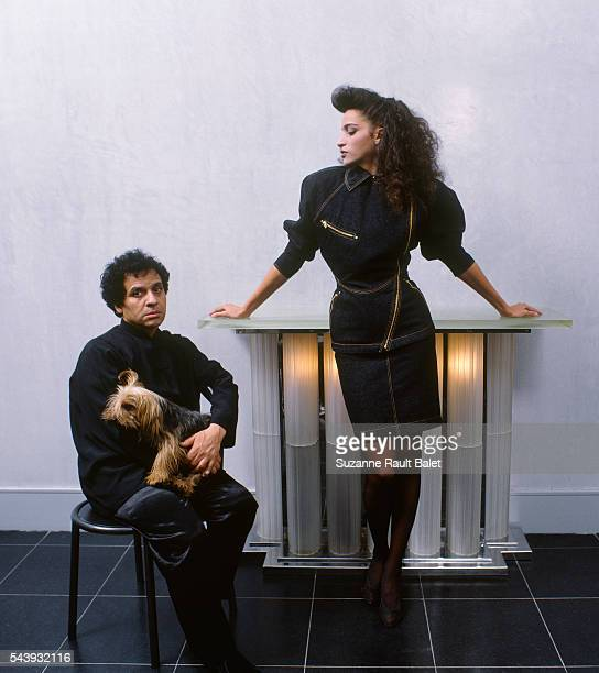 Fashion designer Azzedine Alaia with model Farida