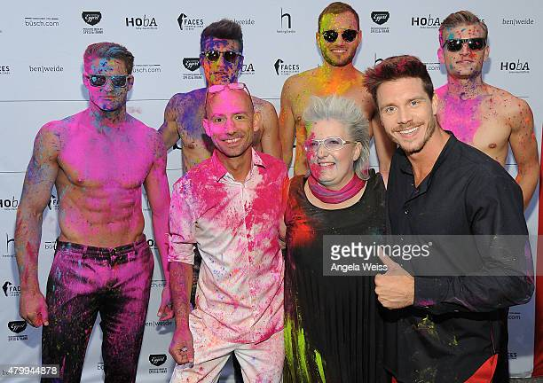 Fashion designer Ben Weide entrepreneur Petra Hoyer and aerialist Thomas Seitel attend the Ben Weide Performance Party during the MercedesBenz...