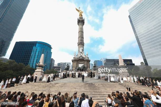 Fashion designer Benito Santos walks the runway at Mercedes Benz Fashion Week Mexico at Angel De La Independencia on October 7 2018 in Mexico City...
