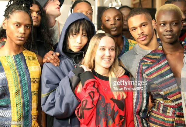 Fashion designer Bethany Williams and models backstage ahead of her show during London Fashion Week Men's January 2020 at the BFC Show Space on...