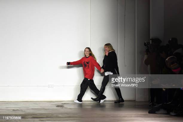 Fashion designer Bethany Williams on the runway after her show during London Fashion Week Men's January 2020 at the BFC Show Space on January 04,...