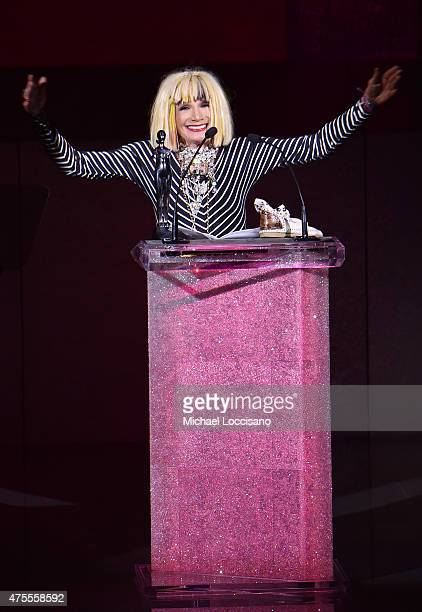 Fashion designer Betsey Johnson accepts the Geoffrey Beene Lifetime Achievement Award onstage at the 2015 CFDA Fashion Awards at Alice Tully Hall at...