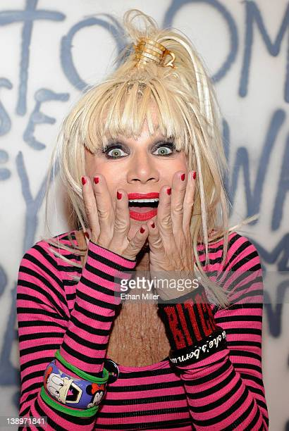 Fashion designer Betsey Johnson appears at the MAGIC clothing industry convention at the Las Vegas Convention Center as she promotes her Fall 2012...