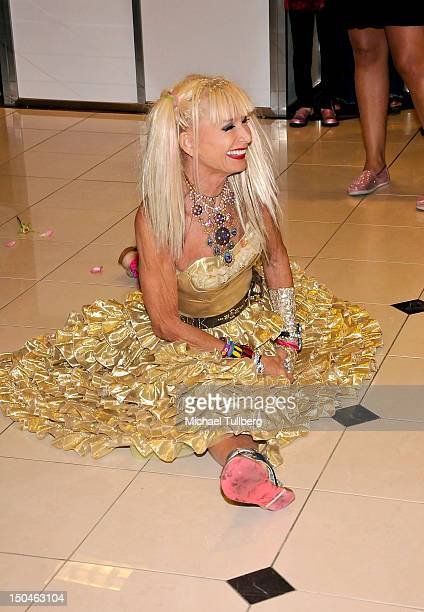 Fashion designer Betsey Johnson arrives at a celebration of the 10Year Anniversary of The Grove on August 18 2012 in Los Angeles California