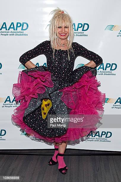 Fashion designer Betsey Johnson poses for a photo at An Evening with Betsey Johnson hosted by the AAPD at the Recording Industry Association Of...