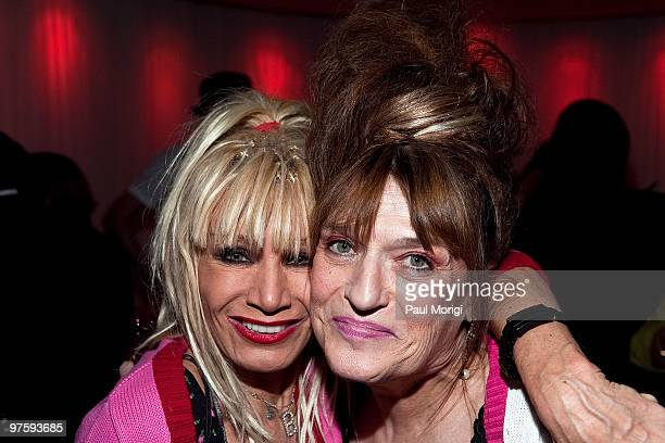 Fashion designer Betsey Johnson poses for a photo with Cheryl Sensenbrenner at An Evening with Betsey Johnson hosted by the AAPD at the Recording...