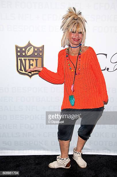 Fashion designer Betsey Johnson poses on the carpet as the NFL Unveils Super Bowl 50 Bespoke Designer Footballs in Collaboration with the CFDA at NFL...