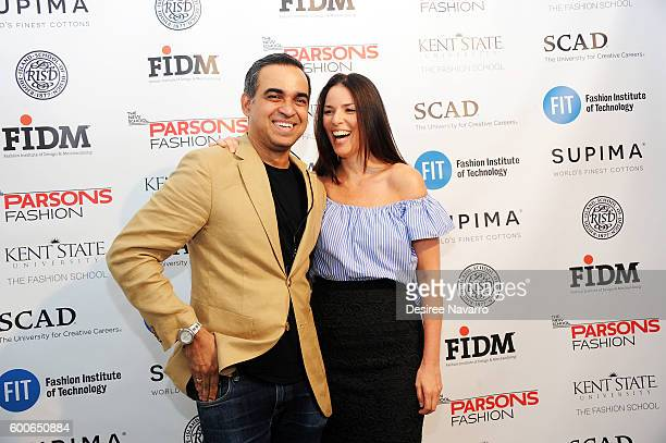 Fashion Designer Bibhu Mohapatra and Ann Carus pose backstage at the Supima Design Competition Ninth Annual Runway Show during New York Fashion Week...