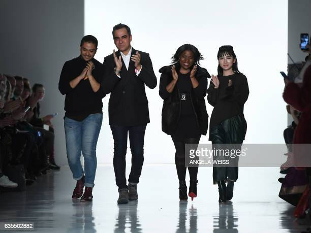 Fashion designer Bibhu Mohapatra walks the runway at Bibhu Mohapatra during New York Fashion Week on February 15 in New York / AFP / Angela Weiss